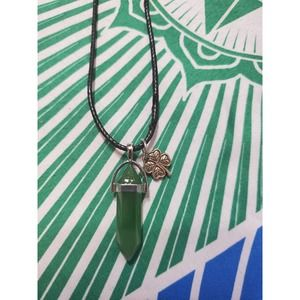 Handmade aventurine pendant 4 leaf lucky charm Necklace